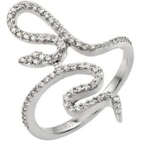 Jewelry - Sterling Silver Rhodium Plated Clear CZ Snake